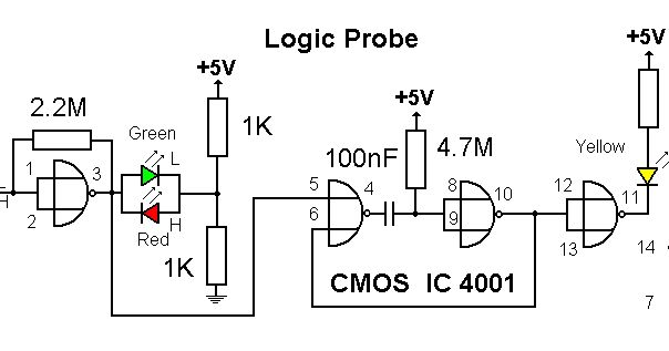 logic probe circuit diagrams schematics electronic projects