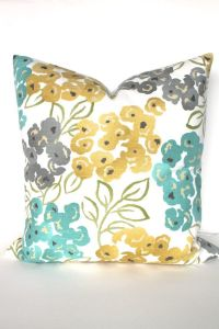 Turquoise PILLOWS Yellow Pillow Covers Teal Throw Pillows ...
