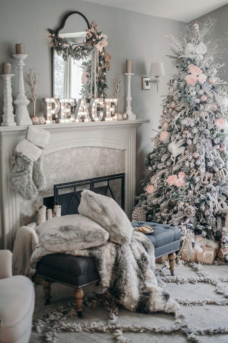 here comes santa blogger home tour 2016 pink christmaswhite christmas decorationsholiday