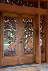 Log Home Deer Carved Door | Home: Entryways & Doors ...