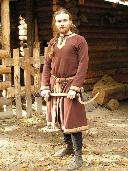 Viking Farmers Outfitlinen Shirt Slashed Woolen Tunic