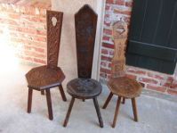 Antique English Hand Carved Wood Spinning Wheel Chairs ...