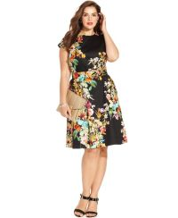 Spense Plus Size Cap-Sleeve Floral-Print A-Line Dress ...