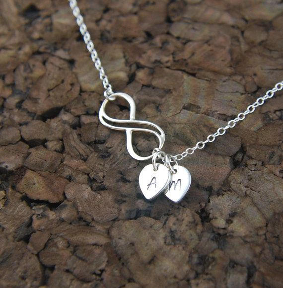 Small Double Wire Infinity Necklace With Initial Charms In