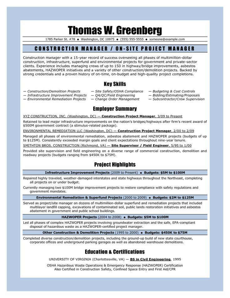 Demolition Supervisor Cover Letter - construction project manager resume sample