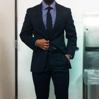 Navy suit, blue gingham shirt, navy tie   In the Navy.Suit ...