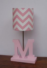 Small Baby Pink/White Chevron Drum Lamp Shade - Nursery or ...
