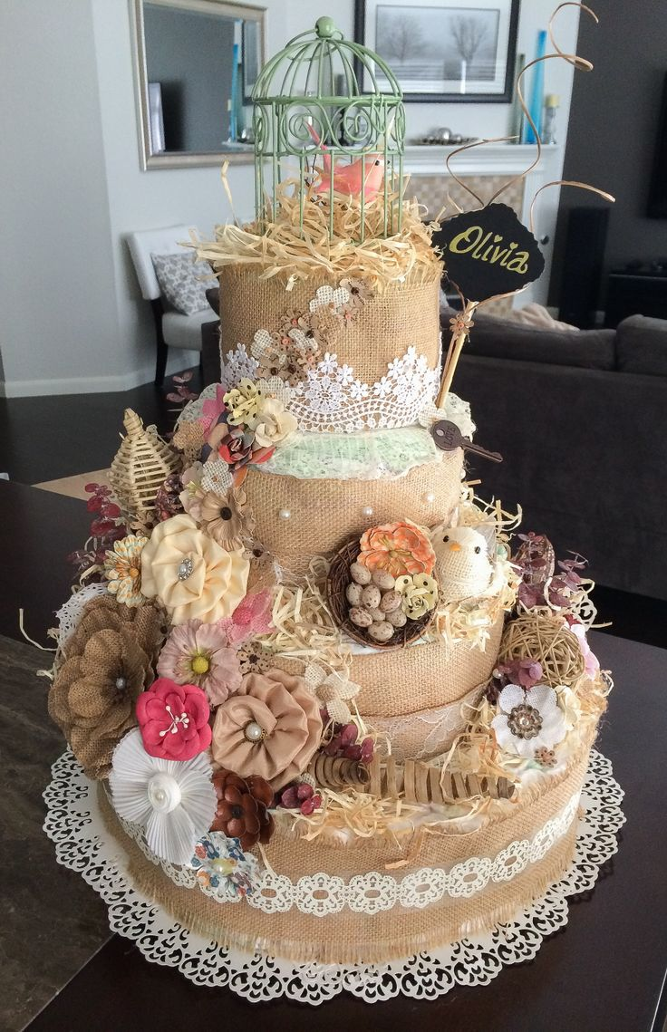rustic baby shower cakes