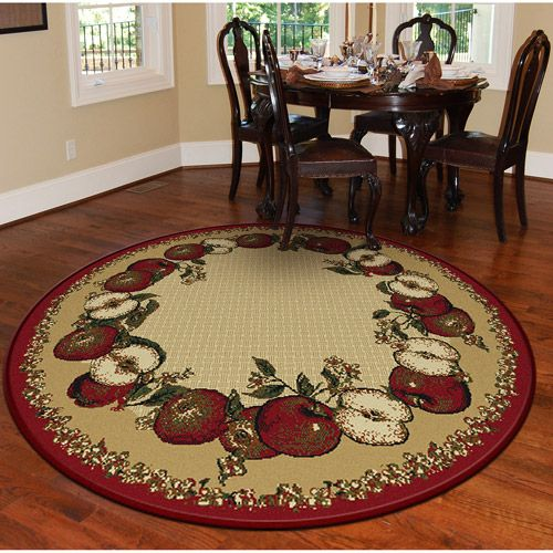 Orian Apple Border Round 63quot Rug Sand House And Home