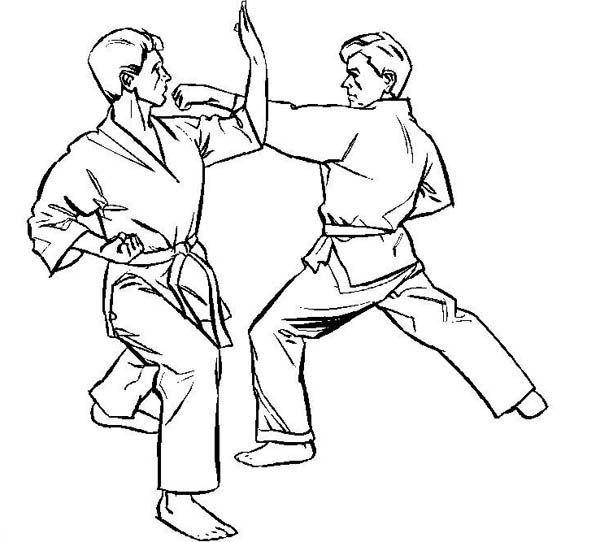 dibujos karate para colorear