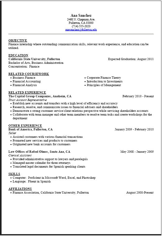 example of a bad college resume