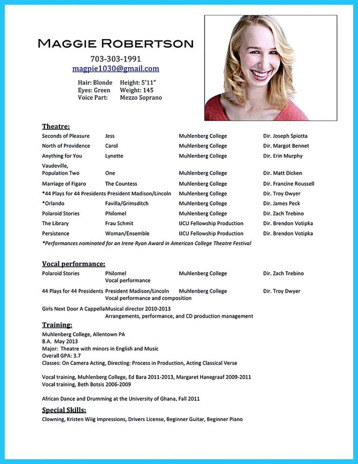actor resume template - Talent Resume Format