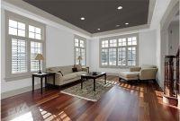 Combine a dark ceiling with grey trim & white walls for ...