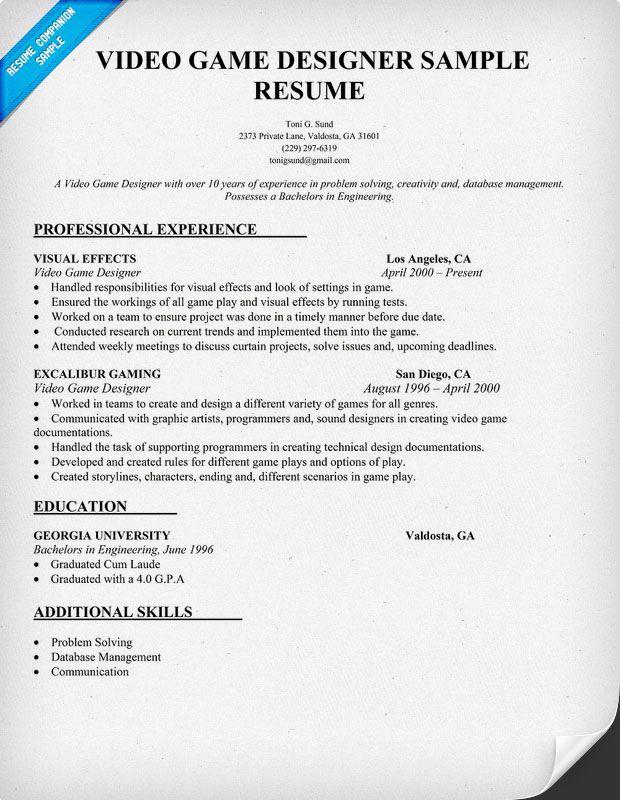game artist resume sample