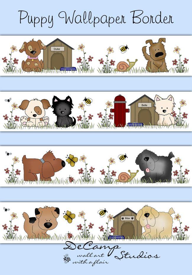 Baby Girl Nursery Wallpaper Borders Puppy Dog Wallpaper Border Wall Decals For Baby Girl Or