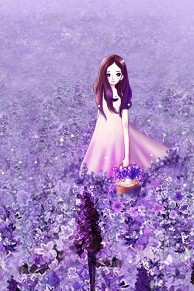 Cute Artsy Wallpapers Anime Cute Little Girl In Lavender Garden Iphone 4s