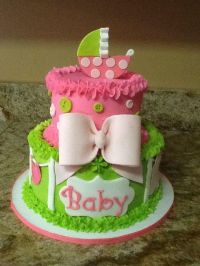 Lime green and hot pink baby shower cake | baby shower ...