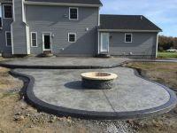 2 tier stamped patio w/ 4' diam. custom made fire pit, 2 ...