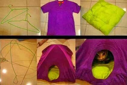 Diy Cat Bed Made From Wire Coat Hangers A Throw Pillow