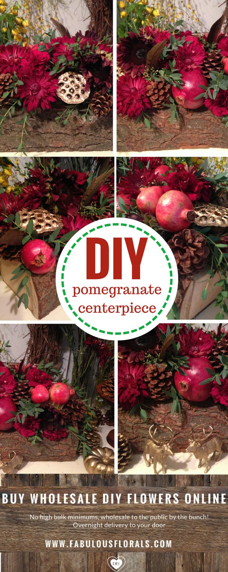 Diy holiday pomegranate centerpiece 2017 christmas flower trends www fabulousflorals com the