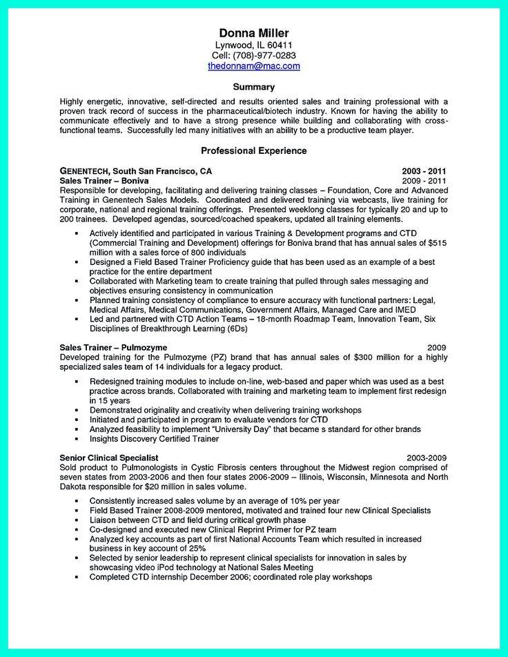 good resume sample for trainer
