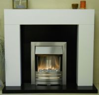 WHITE ELECTRIC FIREPLACE SUITE SILVER INSET ELECTRIC ...