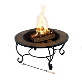 Garden Treasures 35quot Steel Wood And Slate Burning Fire Pit