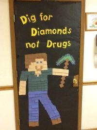 Minecraft Red Ribbon Week Door Decoration | 5th Grade ...