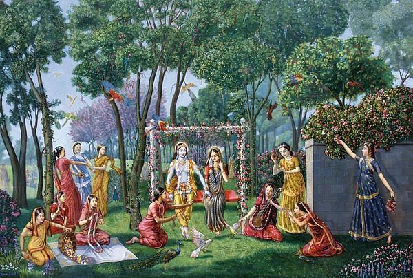 Lord Krishna With Gopis 3d Wallpaper Radha Krishna On The Swing Large Oil Painting On Canvas