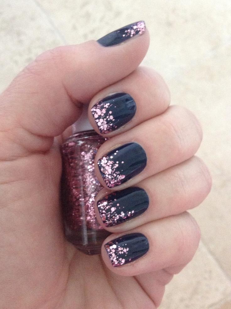 Nails O Navy With Pink Glitter Tips My Nail Polish Diary