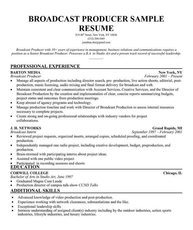 sample resume broadcast technology