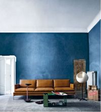 blue walls + caramel leather   interiors   Pinterest ...