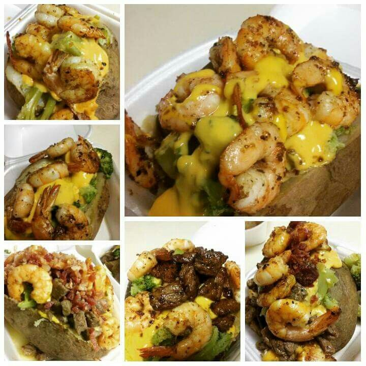 Loaded Bake Potato With Brocolli And Cheese, Chicken, Steak Or