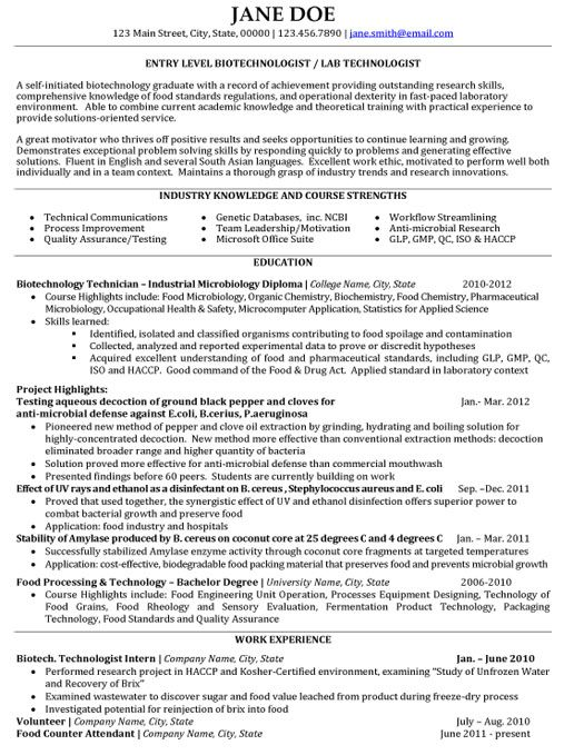biotech student resume examples