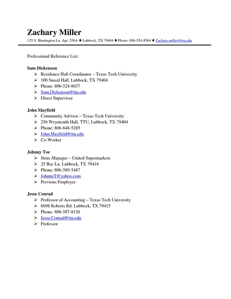 Examples Of Professional Reference List – Professional Reference