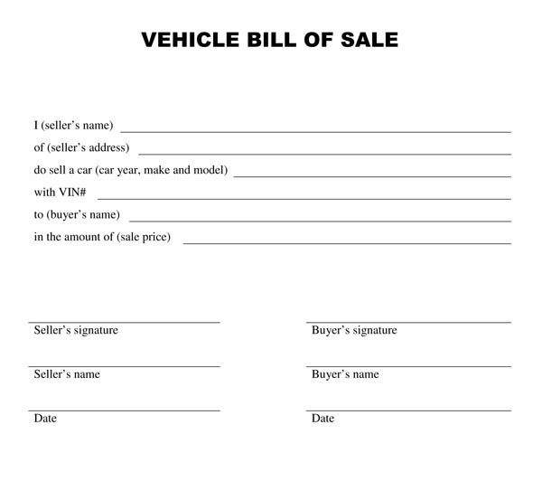 Vehicle Bill Of Sale Template Free Printable Documents