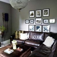 grey walls, brown leather couch!!!   Living room look ...