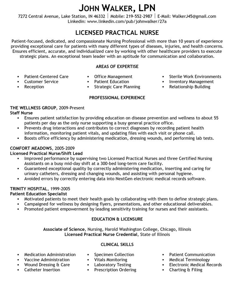 lvn experience examples resume