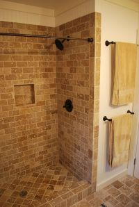 tile shower with curtain rod | Bathroom inspirations ...
