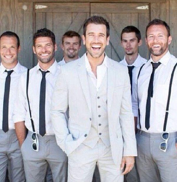 Groomsmen skinny ties, no jackets, maybe suspenders