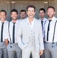 Groomsmen skinny ties, no jackets, maybe suspenders