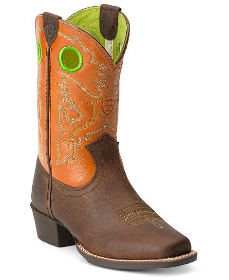 Ariat Youth Orange Roughstock Cowboy Boots Square Toe