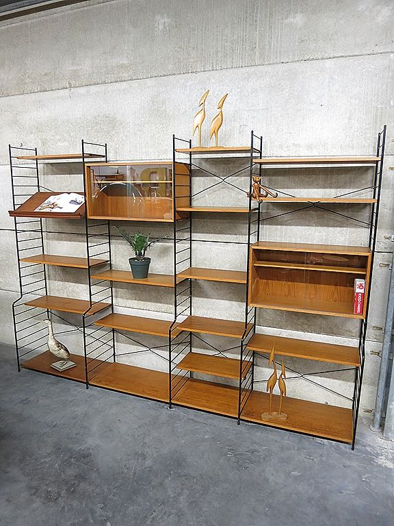 Mid Century Design Wall Unit Danish Style Deens Vintage - String Nisse