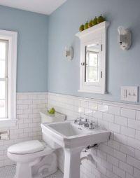 subway tiles w/ chair rail top   bathrooms   Pinterest ...