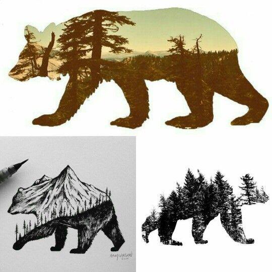 Moose Cute Minimalist Wallpaper Bear Silhouette Tattoo