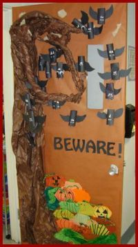 Bats and Pumpkin halloween classroom door decorating ideas ...