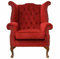 Chesterfield Fabric Queen Anne High Back Wing Chair Flame ...