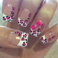 Cute cheetah print nail pink black and white | *NAILS ...