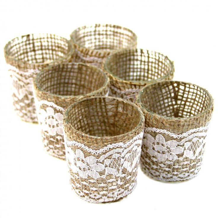 Lace Burlap Wrapped Glass Votive Candle Holders Sk23550