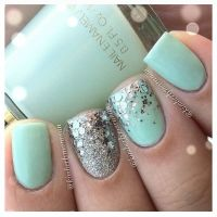 Mint green nails with silver glitter | Manicures & Nail ...